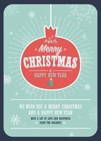 Joyeux Noël carte sur une boule de Noël décorative sur fond d'hiver