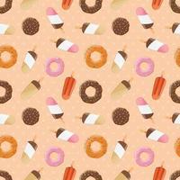modèle sans couture avec crème glacée et beignets savoureux colorés
