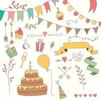 éléments de conception d'anniversaire vintage dessinés à la main, fleurs et éléments floraux
