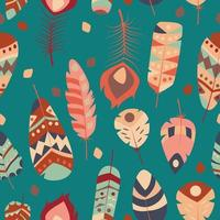 modèle sans couture avec plumes vibrantes colorées ethniques tribales vintage boho vecteur