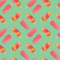 Modèle sans couture de crème glacée, fond d'été coloré, délicieuses friandises,