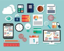 collection d'icônes du design plat, ordinateurs et appareils mobiles, cloud computing, communication