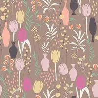 modèle sans couture de vecteur avec éléments floraux, fleurs de printemps, tulipes, lys et vases