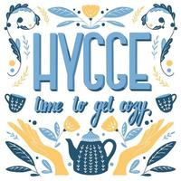 concept hygge. lettrage à la main conception de motifs folkloriques scandinaves vecteur