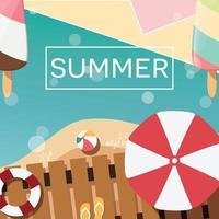 conception d'affiche d'été typographique moderne avec crème glacée, plage et éléments géométriques vecteur