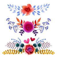ensemble de belles fleurs aquarelles