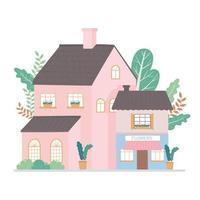 maison résidentielle et conception de dessin animé extérieur de façade de bâtiment commercial vecteur