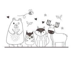 animaux mignons croquis faune dessin animé adorable ours hibou renard rennes et abeille volante