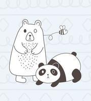 animaux mignons croquis faune dessin animé adorable panda et abeille volante