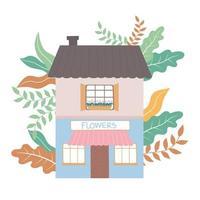 Vue de face boutique de fleurs bâtiment conception de plantes extérieures commerciales vecteur