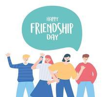 bonne journée de l'amitié, groupe d'amis diversifié de personnes célébration d'un événement spécial vecteur