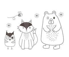 animaux mignons croquis faune dessin animé adorable ours renard et hibou