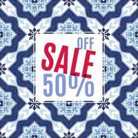 design lumineux pour vos ventes, remises et promotions. azulejos style portugal. vecteur