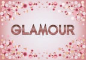 Beau texte glamour mode typographie rosegold métallique avec bokeh et fond brillant mousseux vecteur