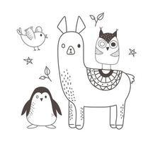 animaux mignons croquis faune dessin animé adorable alpaga hibou pingouin et oiseau vecteur