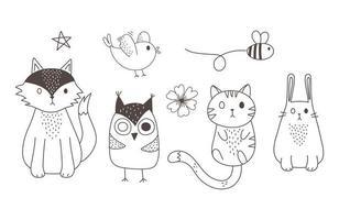 animaux mignons croquis faune dessin animé adorable hibou chat lapin renard oiseau et abeille