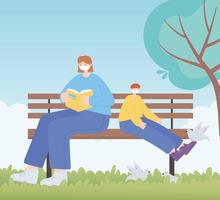 personnes avec masque médical, femme et garçon sur un banc, activité de la ville pendant le coronavirus vecteur