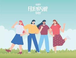 bonne journée d'amitié, jeune groupe femmes relation d'unité célébration d'un événement spécial vecteur