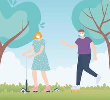 personnes avec masque médical, femme faisant du skate et homme marchant dans le parc, activité de la ville pendant le coronavirus vecteur