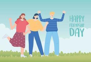 bonne journée de l'amitié, personnages garçons et filles, célébration d'un événement spécial vecteur