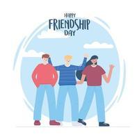 bonne journée de l'amitié, célébration d'événements spéciaux de personnage de dessin animé d'hommes et de femme vecteur