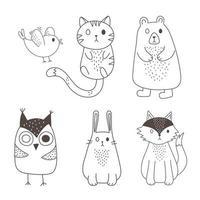 animaux mignons croquis faune dessin animé adorable oiseau chat ours hibou lapin et renard icônes