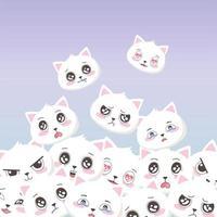 chats blancs mignons fait face à des émoticônes fond d'animaux de dessin animé