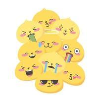 expressions emoji de médias sociaux visages fond drôle de dessin animé