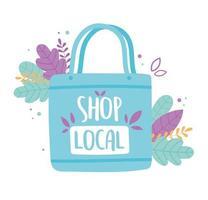 soutenir les entreprises locales, acheter un sac écologique de petit marché avec des feuilles vecteur