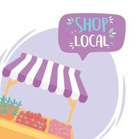 soutenir les entreprises locales, acheter des produits agricoles de petits marchés récolte fraîche vecteur