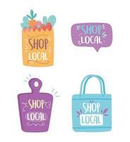 soutenir les entreprises locales, acheter des icônes de lettrage de planche à découper de sac en papier de petit marché vecteur