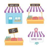 soutenir les entreprises locales, acheter un petit marché, construire des icônes de magasin de produits agricoles vecteur