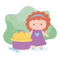 objet de jouets pour que les petits enfants jouent à la poupée de dessin animé et à la boîte à lunch