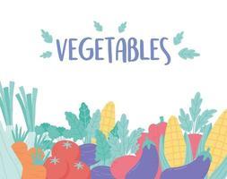 récolte des légumes juteux et mûrs aubergine maïs carotte tomate et poivron vecteur