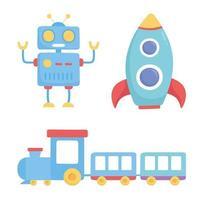 objet de jouets pour les petits enfants à jouer à la fusée robot de dessin animé et à s'entraîner avec des wagons vecteur