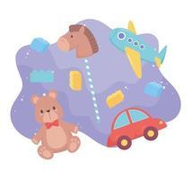 objet de jouets pour les petits enfants à jouer des blocs de chevaux d'avion de voiture d'ours de dessin animé vecteur