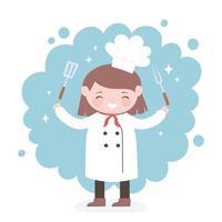 personnage de dessin animé mignon fille chef avec fourchette et spatule vecteur