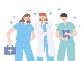 Merci médecins et infirmières, personnel médical avec stéthoscope et trousse de premiers soins vecteur