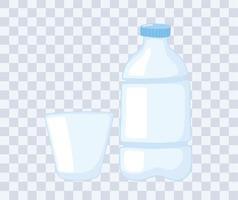 tasses en plastique ou en verre, maquettes de bouteilles, bouteille et gobelet jetables vecteur