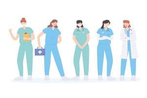 merci médecins et infirmières, personnel médical tous travailleurs de la santé vecteur