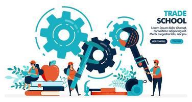 illustration vectorielle de personnes apprenant à réparer des machines. école de commerce ou professionnel. établissement universitaire ou collégial. enseignement professionnel. conception pour page de destination, web, bannière, modèle, affiche vecteur