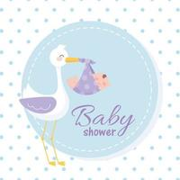baby shower, cigogne portant un petit garçon, bienvenue carte de fête nouveau-né vecteur