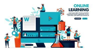 illustration vectorielle de personnes étudient avec la technologie d'apprentissage en ligne sur l'écran du moniteur. enseignement des webinaires avec des vidéos et des examens. évaluation de l'enseignant ou du tuteur. conception de page de destination, web, bannière, modèle