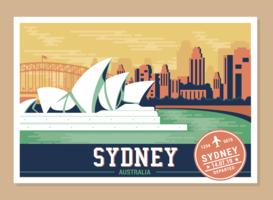 Cartes postales du monde vecteur