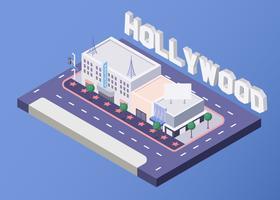 Promenade isométrique de la renommée sur Hollywood Boulevard vecteur
