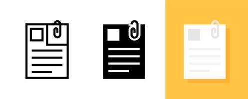 document avec trombone, jeu d'icônes plat document