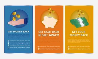 Bannières de remise en argent de vecteur
