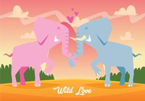 Éléphant mignon tomber amoureux vecteur