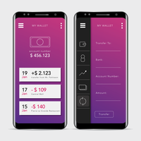 GUI propre et moderne Mobile Banking Application