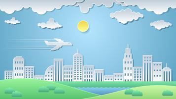 Ville papier art vecteur de paysage